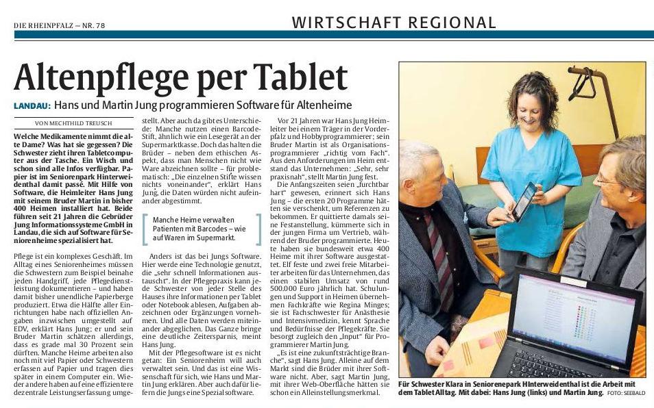 Die Pflegedokumentationssoftware der Wilken Entire GmbH in der Rheinpfalz.
